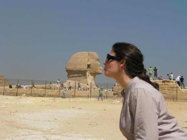 Picture of Andrea Long and a sphinx statue
