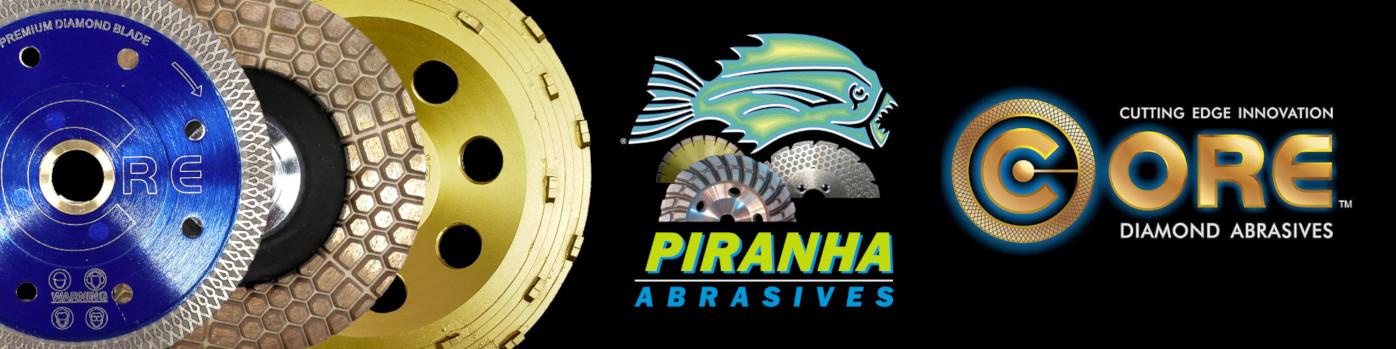Picture of diamond abrasive circular blade, grinding cup, stripping cup, Piranha Abrasives trademark and Core Diamond Abrasives trademark